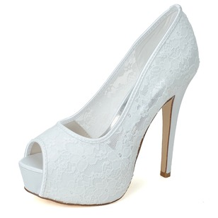 Women's Lace Peep Toe Platform Pumps Sandals