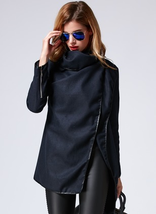 Polyester Dark Blue Long Long Sleeve Others Coats & Jackets