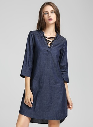 Linen Solid Short Sleeve Above Knee Casual Dresses