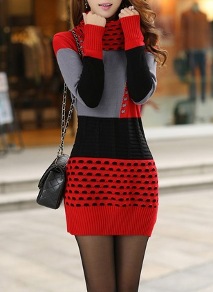 Cotton Blends Color Block Long Sleeve Above Knee Casual Dresses