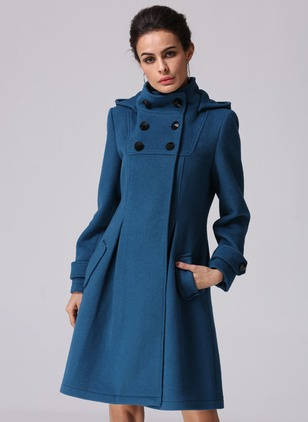 Cotton & Cotton Blend Dark Blue Long Long Sleeve Stand Collar Coats & Jackets