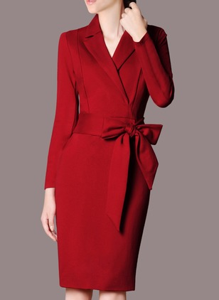 Cotton Solid Long Sleeve Knee-Length Elegant Dresses