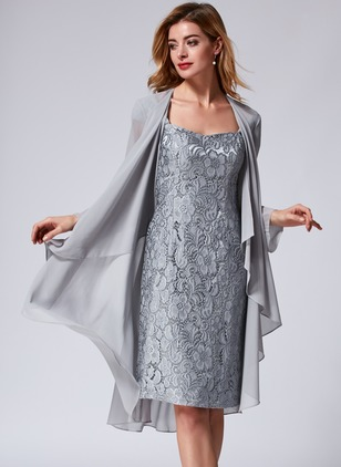 Lace Solid Knee-Length Elegant Wrap Dresses