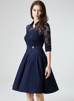 Lace Polyester 3/4 Sleeves Knee-Length Casual Lace Dresses