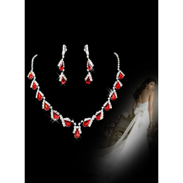 Water Drop Round Crystal Necklace Earring Jewelry Sets (1935301276) 6
