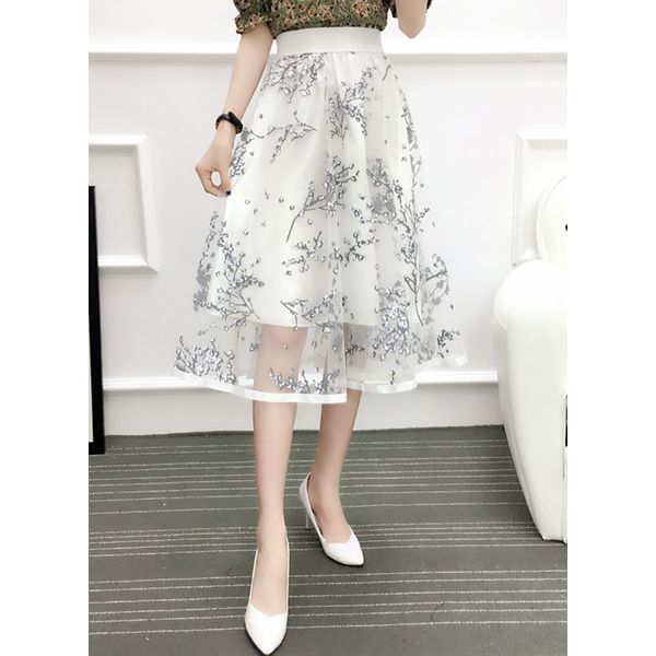 Floral Knee-Length Appliques Skirts (1725279640) 3