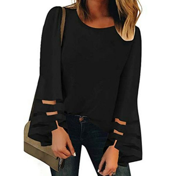 Solid Casual Round Neckline Long Sleeve Blouses (1645559080)