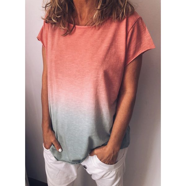 Color Block Casual Round Neckline Short Sleeve Blouses (1645403083)