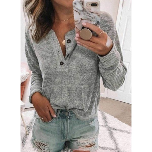 Solid Casual Round Neckline Long Sleeve Blouses (1645457960)