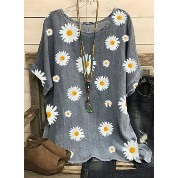 Floral Casual Round Neckline Short Sleeve Blouses (1645579452)