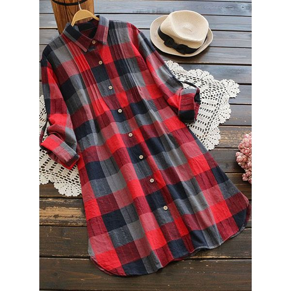 Check Casual Collar Long Sleeve Blouses (1645359254) 6