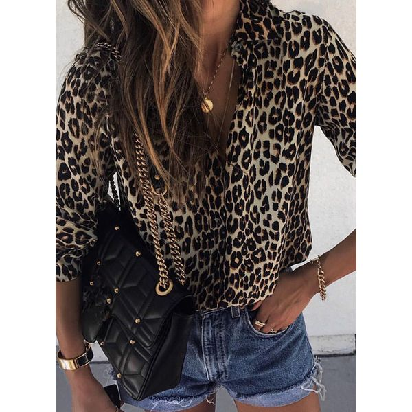 Leopard Sexy Collar Long Sleeve Blouses (1645353643) 10