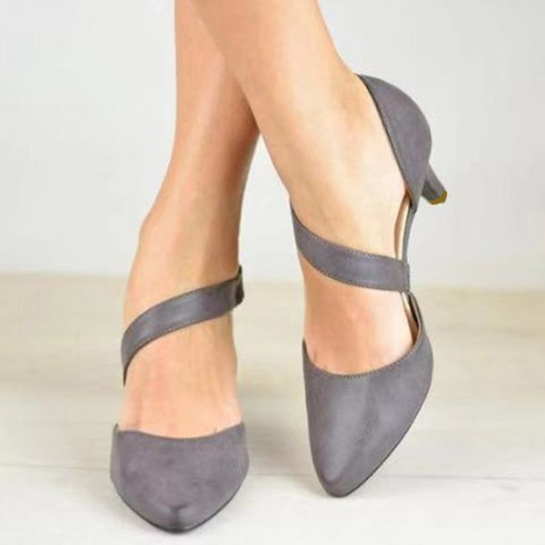 Buckle Pointed Toe Chunky Heel Shoes (1625400073, Black;gray