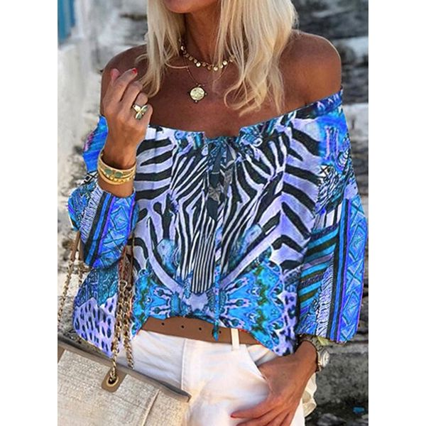 Color Block Casual Off the Shoulder Long Sleeve Blouses (1645582604)