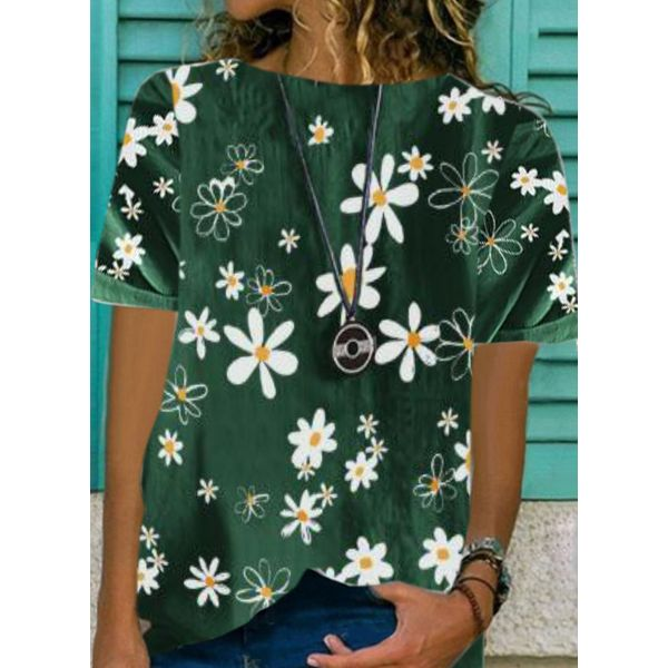 Floral Casual Round Neckline Short Sleeve Blouses (1645584343)