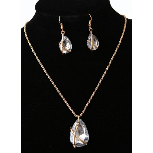 Water Drop Round Crystal Necklace Earring Jewelry Sets (1935301285) 11
