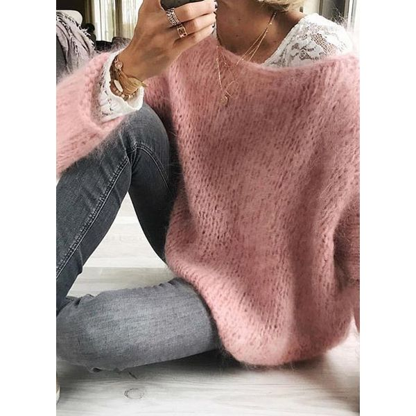 Round Neckline Solid Casual Loose Regular Shift Sweaters (1675469645)