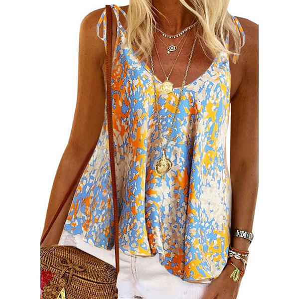 Floral Casual Camisole Neckline Sleeveless Blouses (1645554064)