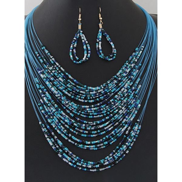 Water Drop No Stone Necklace Earring Jewelry Sets (1935595532)