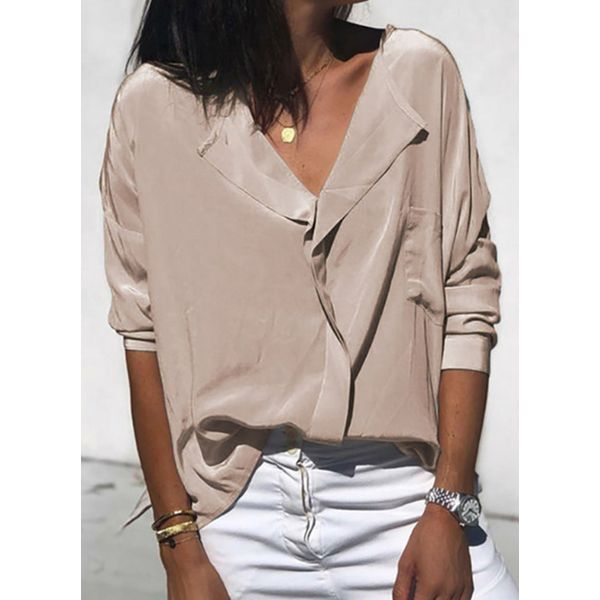 Solid Casual V-Neckline 3/4 Sleeves Blouses (1645564485)