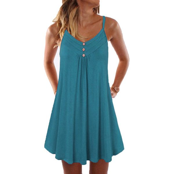 Casual Solid Tunic Camisole Neckline A-line Dress (1955577319)
