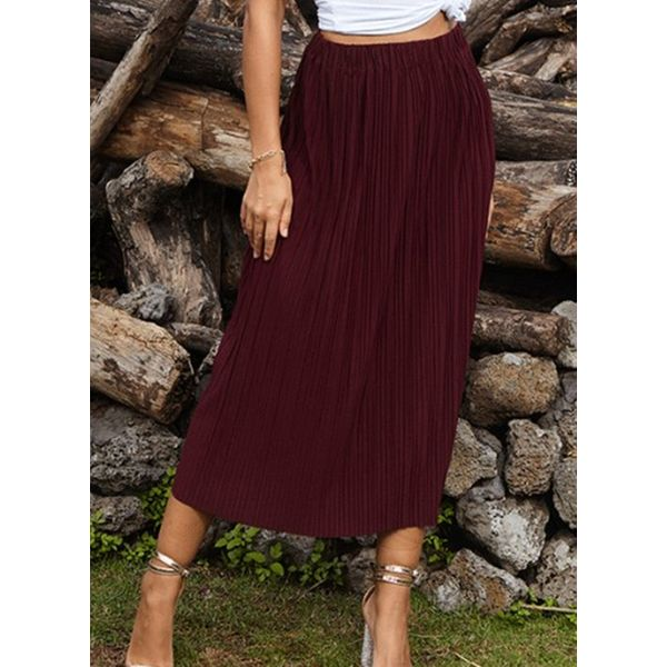 Solid Mid-Calf Casual Skirts (1725591020)