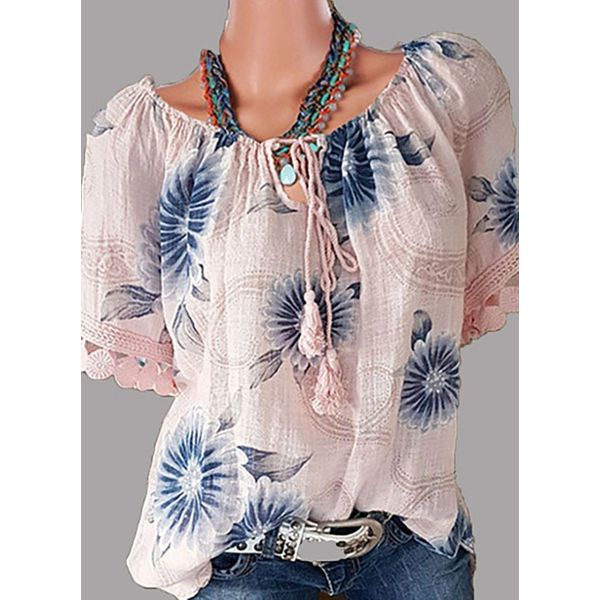 Floral Casual Round Neckline Short Sleeve Blouses (1645382435) 5
