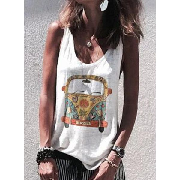 Color Block Round Neck Sleeveless Casual T-shirts (1685585296)