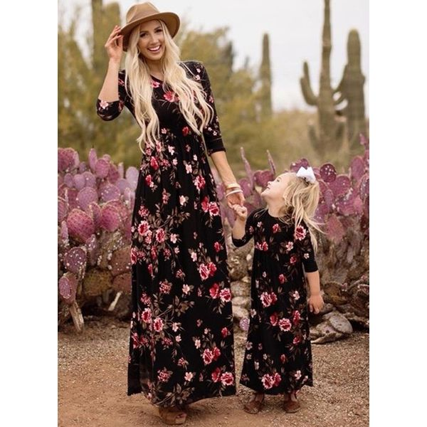 Mommy and Me Floral Casual 3/4 Sleeves Family Outfits (30245560892)