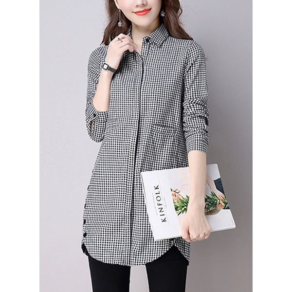 Check Collar Long Sleeve Blouses (1645268328) 10