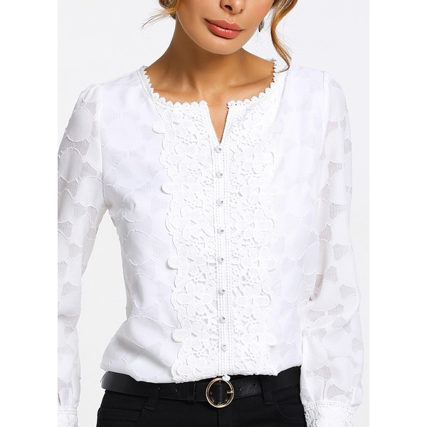 Solid Casual Round Neckline Long Sleeve Blouses (01645221054)