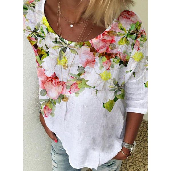 Floral Casual Round Neckline 3/4 Sleeves Blouses (1645589075)