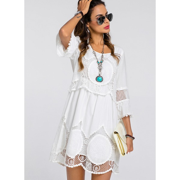 Solid Embroidery 3/4 Sleeves Knee-Length Shift Dress (01955262213) 4