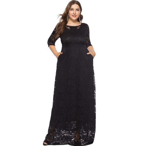 Plus Size Solid Lace 3/4 Sleeves Maxi X-line Dress (1955377378) 9