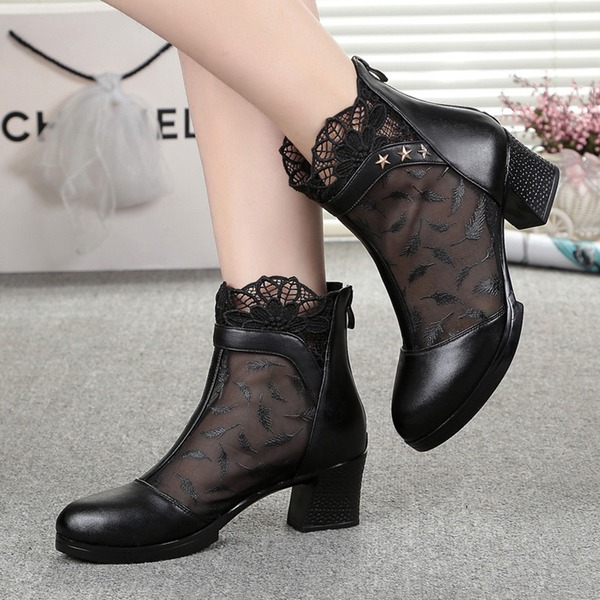 Stitching Lace Ankle Boots Chunky Heel Shoes (1625265254) 3