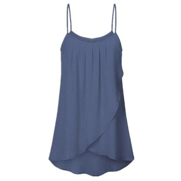Plus Size Solid Casual Camisole Neckline Sleeveless Blouses (1645377265) 6