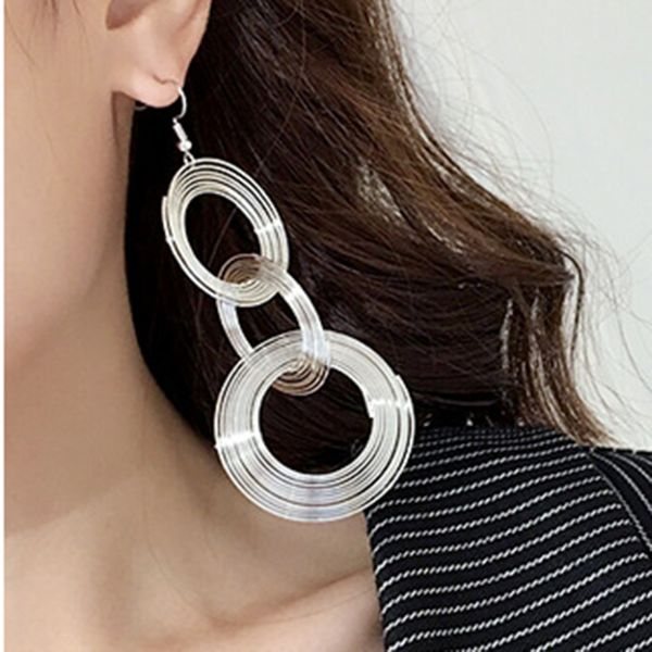 Casual Round No Stone Dangle Earrings (1855565584)