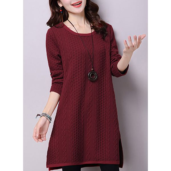 Solid Long Sleeve Above Knee Shift Dress (1955349957) 11