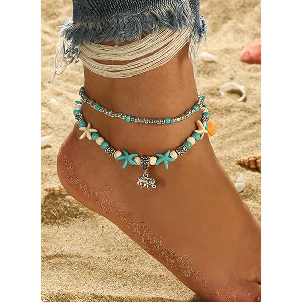Casual Gemstone Ball Star Animal Anklet (1905597181)