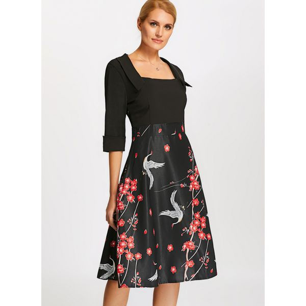 Floral Half Sleeve A-line Dress (01955374160) 10