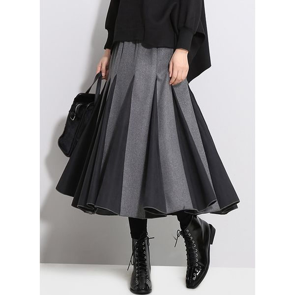 Color Block Mid-Calf Casual Skirts (1725377590)