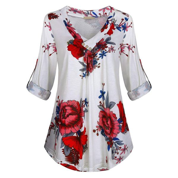 Plus Size Floral Casual V-Neckline Half Sleeve Blouses (1645382960) 10