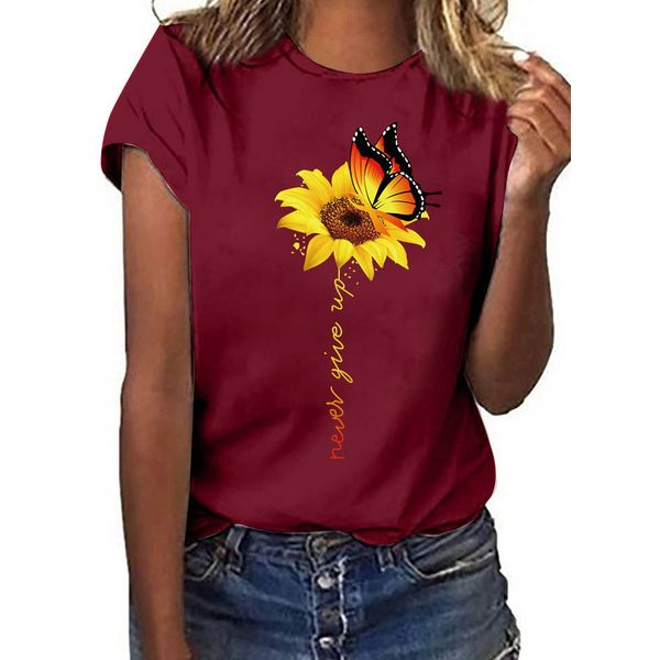 Floral Round Neck Short Sleeve Casual T-shirts (1685567284)