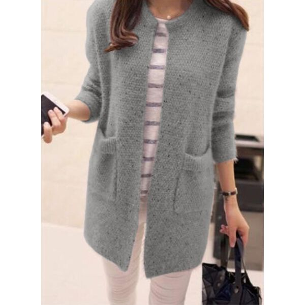 Long Sleeve Round Neck Pockets Sweaters (1715334108) 11