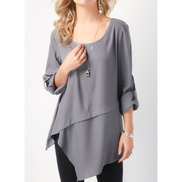 Solid Casual Round Neckline Long Sleeve Blouses (1645381738) 9