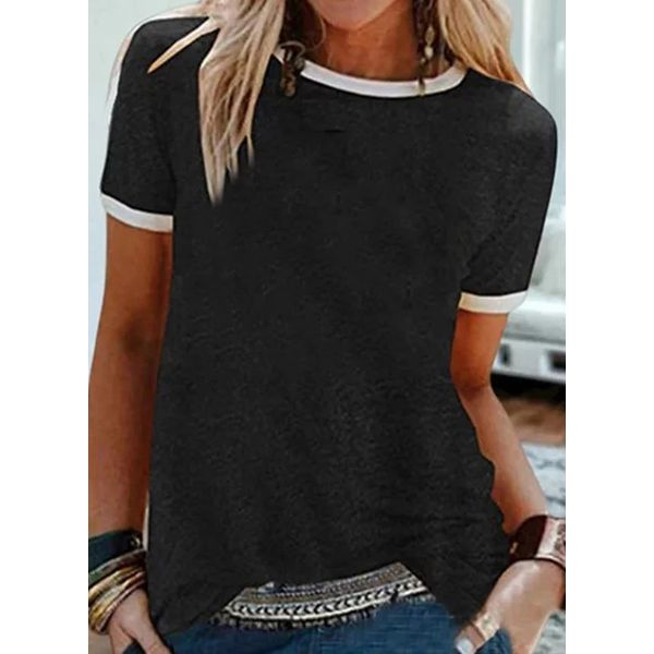 Color Block Round Neck Short Sleeve Casual T-shirts (1685576843)