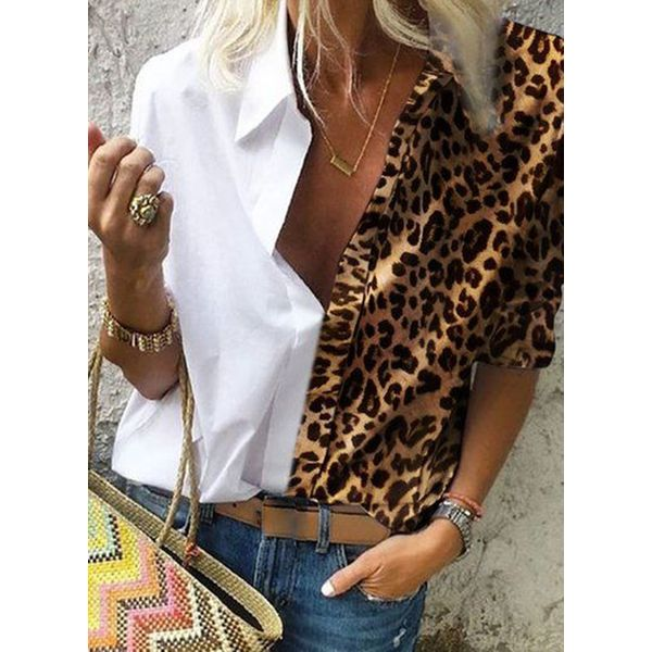 Leopard Casual Collar Long Sleeve Blouses (1645555709)