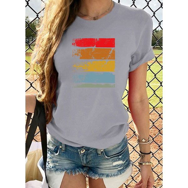 Color Block Round Neck Short Sleeve Casual T-shirts (1685559019)