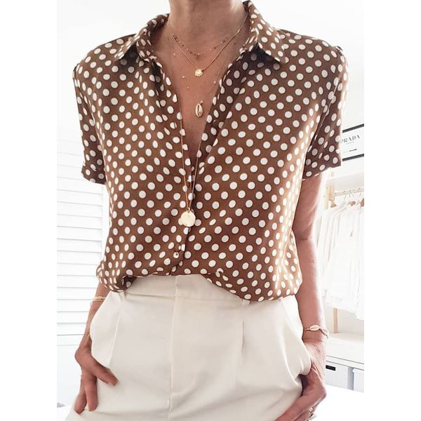 Color Block Casual Collar Short Sleeve Blouses (1645536007)