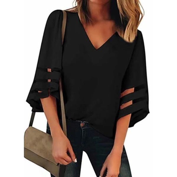 Solid V-Neckline Casual Shift Blouses 3/4 Sleeves Plus Blouses (30355563764)